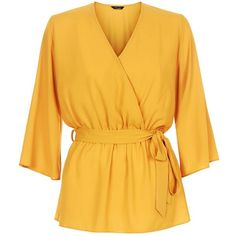 Yellow Belted Wrap Front Bell Sleeve Top (€20) ❤ liked on Polyvore featuring tops, bell sleeve tops, wrap front top, flared sleeve top, yellow top and belted top