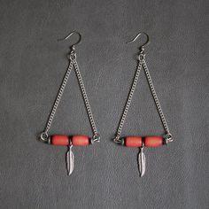 Zera earrings by BrimborionCreations  #ethnic #boho #earrings #triangleearrings #feathers #jewelry #montreal