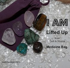 """I AM Lifted Lifted Up Crystal Medicine Bag I AM Lifted Up from Guilt / Shame / Unworthiness / I AM Free  The """"I AM"""" crystal medicine bags carry specific intentions & energetic vibrations to connect you with your """"I AM"""" presence to assist with healing & balancing your Body Mind & Spirit!by CrystalVibrations06 $12.12 #crystal #IAM http://wandavirgo.com"""
