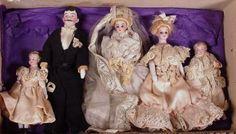 Antique Dolls Price Guide: German Bisque Dollhouse Dolls, Wedding Party