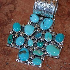 Nakai Navajo Indian Sterling Turquoise Cross Pendant