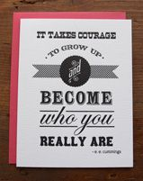Courage Quote Letterpress Greeting