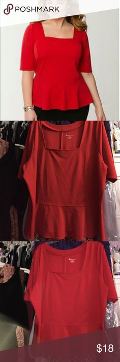 Red Lane Bryant peplum Red Lane Bryant peplum. Size 22/24, 27 inches armpit to armpit and 27 inches shoulder to hem. 74% polyester, 22% rayon, 4% spandex. In great condition, re-poshing. Lane Bryant Tops Blouses