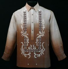 Monochromatic Brown Barong Tagalog Take Barong Tagalog to the next level of style by adding this new design of embroidery complete with monochromatic color. Mens Hottest Fashion, Barong Tagalog, Fashion Brand, Men's Fashion, Filipiniana Dress, Filipino Culture, Line Shopping, Big Daddy, Casual Shirts