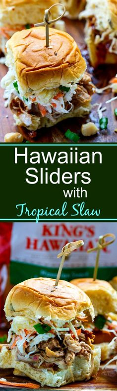 Hawaiian Sliders are made with slow cooker pork and topped with a tropical slaw flavored with pineapple and macadamia nuts. So good!