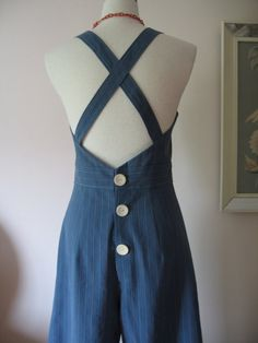 Repro striped overalls back with awesome buttons