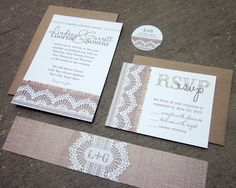 Burlap & Lace Wedding Invitation Suite - SAMPLE of REAL Burlap and Lace Layered. $10.00, via Etsy.
