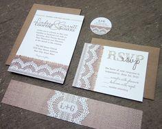 Burlap & Lace Wedding Invitation Suite