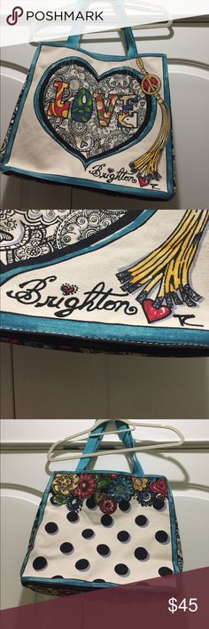 """Brighton canvas tote 15"""" x 15""""x 8"""".    8"""" drop from handle  lovely art work. Sturdy canvas. Never used. Non smoking home. Brighton Bags Totes"""