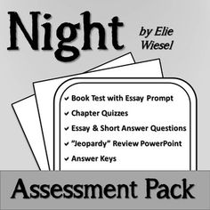 night by elie wiesel assessment pack essay prompts elie wiesel   night by elie wiesel assessment pack night booknight novelessay
