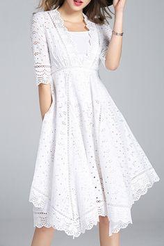 LENTI -  Cutwork Scalloped Swing Dress with Cami Dress