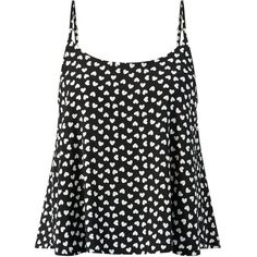 Cameo Rose Black Heart Print Button Split Back Cami ($8.81) ❤ liked on Polyvore featuring tops, shirts, rose tops, rose shirt, cami shirt, camisole shirt and camisole tops