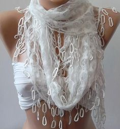 White  lace and Elegance Shawl / Scarf  with Lace Edge by womann, $19.90