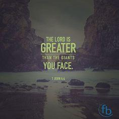 """The Lord is greater than the giants you face."" I John 4:4 #votd . . . #BixbyOklahoma #BixbyOK #TulsaOK #FBCBixby #Bible #votd #Peace #Hope #Grace #Love #Forgiveness #Church #Worship #Family #VerseOfTheDay #SouthTulsa #SouthTulsaOK #Prayer #BibleStudy #sermonSeries #JesusChrist #Christian #Tulsa_Oklahoma #Faith"