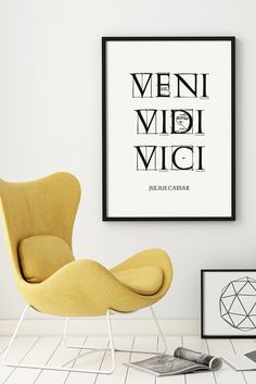 Printable Quote VENI VIDI VICI Letterpress by WhitePrintDesign