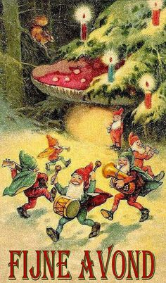 Yule style!! Noel Christmas!! Wonderful vintage illustration with gnomes elves dancing!! And a pretty lighted Christmas Tree!! Goede avond