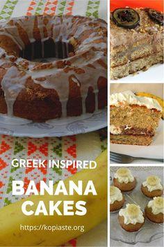 Collage Greek inspired banana cakes image