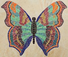 Butterfly a Thing of Beauty Mosaic Birds, Butterfly Images, Dragonfly Art, Mosaic Wall Art, Glass Butterfly, Mosaic Glass, Stained Glass, Mosaic Crafts, Stained Glass Panels