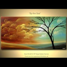 48 Abstract Tree Painting Original Acrylic by OsnatFineArt on Etsy, $380.00