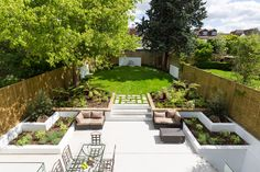 Lonsdale Road Residence by Granit Chartered Architects Small Garden Landscape Design, Garden Design, Back Gardens, Outdoor Gardens, Family Garden, Home And Garden, Modern Fireplace, Outdoor Fireplaces, Dream House Exterior
