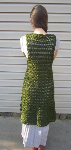 Green crochet vest midi length vest vintage gypsy by LindaDiLeva