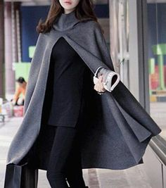 Dark Grey Plain Hooded Cape Coat