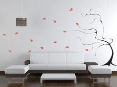 Windy Tree Giant - from www.BeautifulWallDecals.com  This Giant windy tree decal will add a bit of whimsy to any wall! Our life-size tree decals bring nature indoors & customizable color options you can choose the tree that is right for you!  #tree #walldecal #homedecor