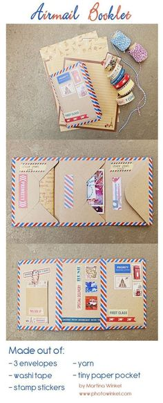 AHG Pen Pal Ideas: Airmail themed envelope booklet More