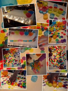 "Coloured plastic ice cubes and coloured counters on the homemade lightbox - from Rachel ("",)"
