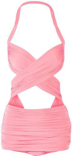 Norma Kamali Xo Bill Mio Ruched Cutout Swimsuit In Pink Retro One Piece Swimsuits, Retro Bathing Suits, Halter One Piece Swimsuit, Cut Out Swimsuits, Pink Swimsuit, Pink Bikini, Halter Bikini, Bikini Top, Bikini Retro