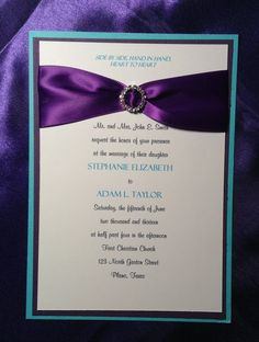 Purple Wedding Invitations, Purple and Teal Wedding Invitation ...