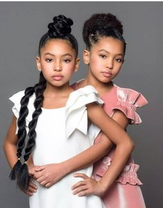 These pretty little ladies are giving us stylish junior bridesmaids feels! Black Baby Girls, Twin Girls, Cute Baby Girl, Cute Little Girls, Baby Love, Black Twins, Cute Twins, Cute Babies, Beautiful Children