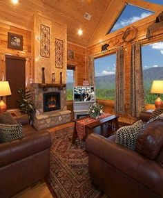 Log Cabin living room with a view ~