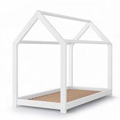 Kinderbett Kinderhaus Kinder Bett Holz Haus Schlafen Spielbett Hausbett 90x200cm - lackiertes Massivholz - kindgerechte Verarbeitung