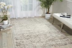 kathy ireland by Nourison Shiny Floral Area Rug 53W x 75D | National Business Furniture