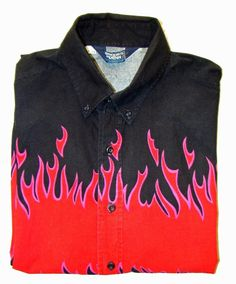 BROOKS & DUNN Panhandle Slim Flames Cowboy Rodeo Rockabilly Western Shirt 17/34 #PanhandleSlim #Cowboy