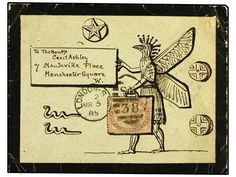 1885 (March 15). Mourning envelope with extraordinary hand-illustrated ´Mexican Chicken´ design surrounding address