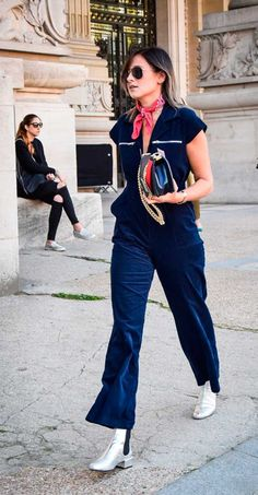 Dark shades paired w/ cold-knee tights or an indigo velour flared-leg jumpsuit