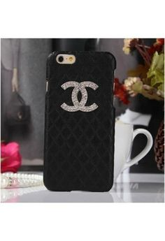 Coque Chanel iPhone 6 Plus,Housse Bling Strass iPhone6 5.5-noir 2