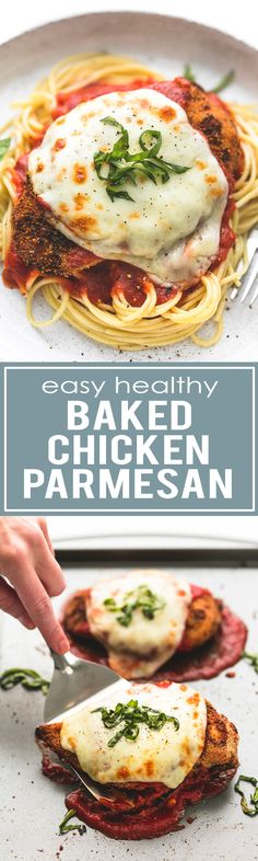 Easy Healthy Baked Chicken Parmesan | lecremedelacrumb.com (Baking Pasta Bread Crumbs)