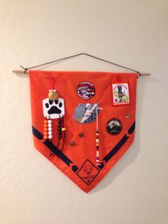 Cub Scout patch banner using scout scarf