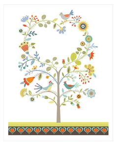 CbyC Studio Original  - Tree of Life - Hearts & Birds - Limited Edition Print