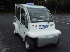 golf cart security patrol vehicle with fully enclosed cabin