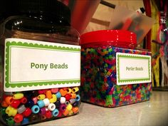 labeled jars add a finishing touch to kids creative space