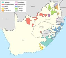 Map of the black homelands in South Africa at the end of apartheid in 1994
