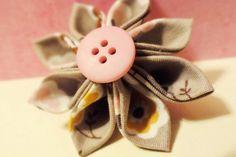 Kanzashi Flower Hair Bobby Pin Cherry Blossom Fabric by harmony5, $11.00 Love her clips!