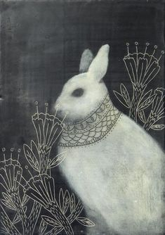 Evan B. Harris illustration. Hare of the North. Acrylics, oils and wax on board. Joint project with artist Amy Ruppel with whom he shares a studio.
