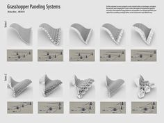 For this exercise, I was very interested in seeing how thicknesses in the module/geometry affected how the different shapes meshed toget. Folding Architecture, Parametric Architecture, Parametric Design, Architecture Drawings, Rhino Architecture, Temporary Architecture, System Architecture, Grasshopper Images, Grasshopper Rhino