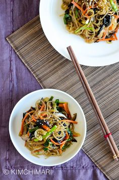 Korean Glass Noodles - simple one pan Japchae