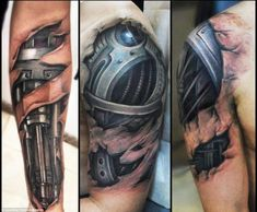What does robot arm tattoo mean? We have robot arm tattoo ideas, designs, symbolism and we explain the meaning behind the tattoo. Amazing 3d Tattoos, Best 3d Tattoos, Body Art Tattoos, Sleeve Tattoos, Tatoos, Scary Tattoos, Hand Tattoos, Tattoo Arm Mann, Rip Tattoo